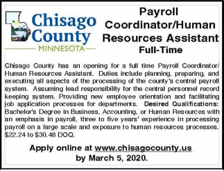 Payroll Coordinator/Human Resources Assistant