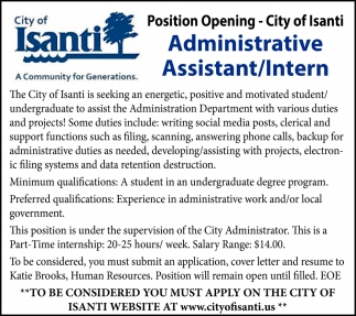 Administrative Assistant/Intern