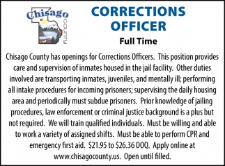 Corrections Officer Needed