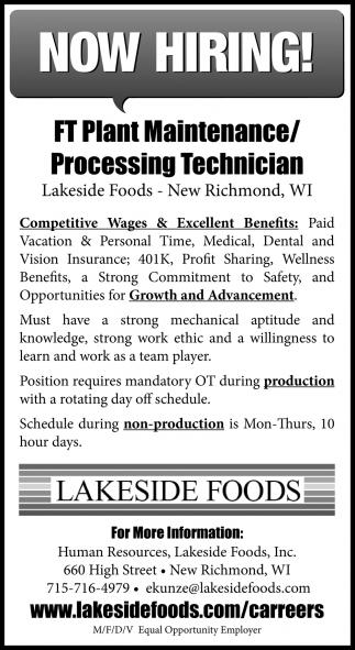 FT Plant Maintenance/Processing Technician