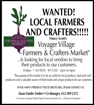 Wanted! Local Farmers And Crafters!!!