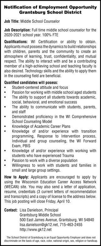 Middle School Counselor